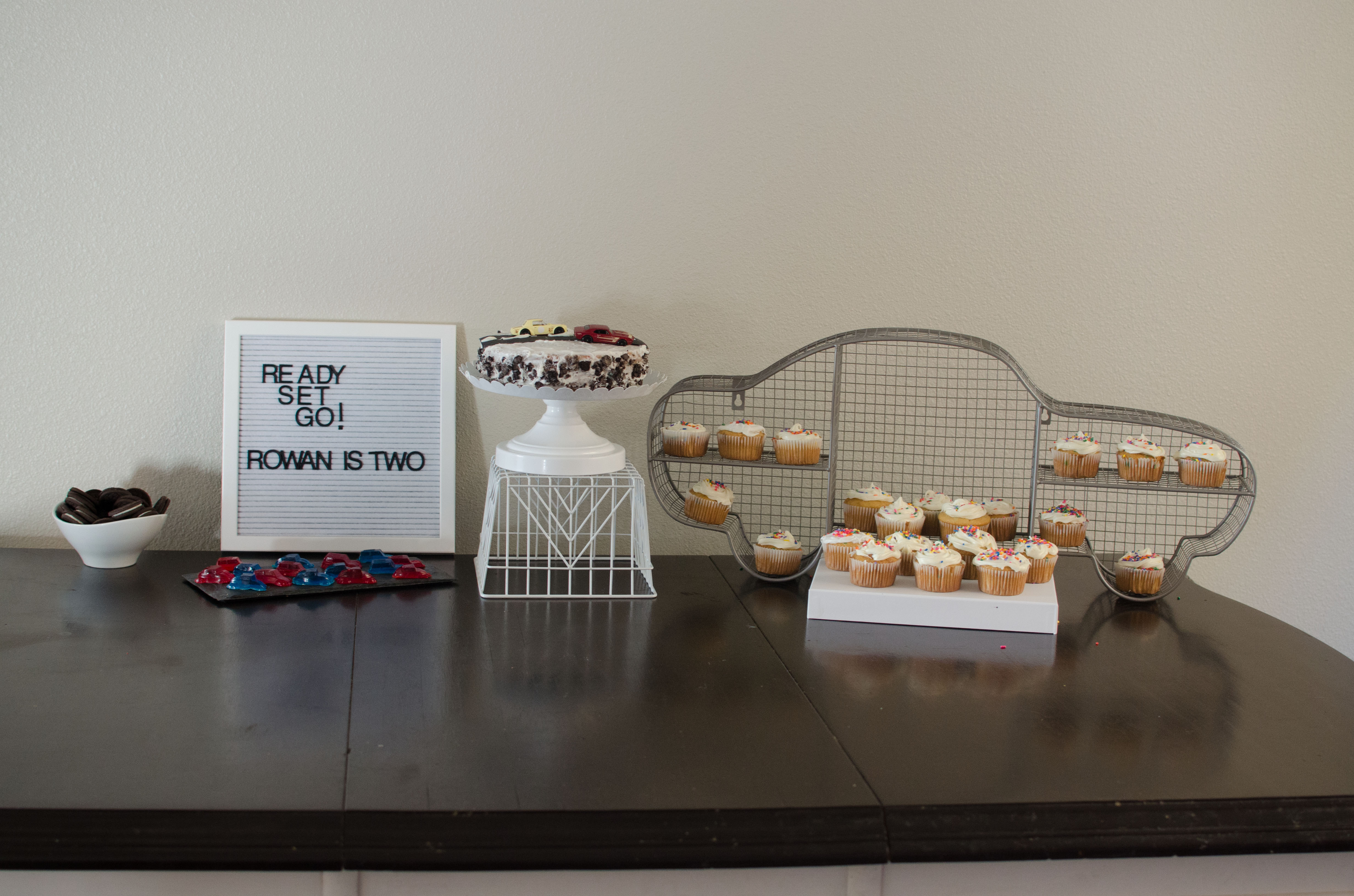 Dessert table for Toddler Birthday Race Car Party